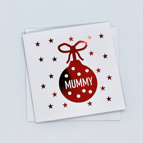 Red Foil Christmas Mummy Bauble Card