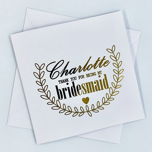 """Personalised """" Vine Thank You Bridesmaid"""" Gold Foil Card"""