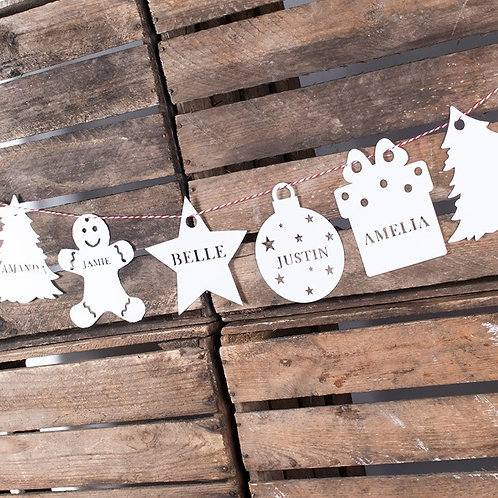 Personalised Assorted Papercut Christmas Bunting