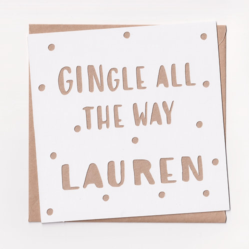 "Personalised Papercut ""Gingle All The Way"" Christmas Card"