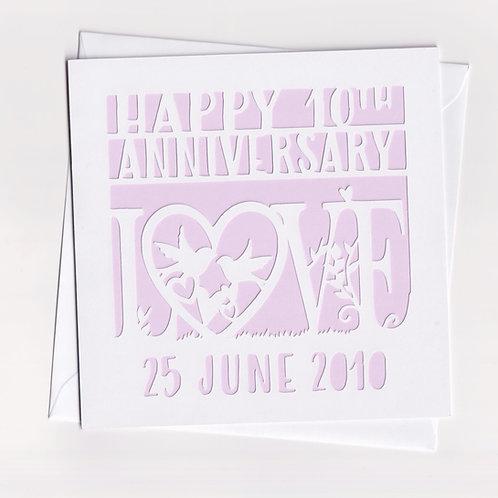 Personalised Papercut Love Bird Anniversary Card