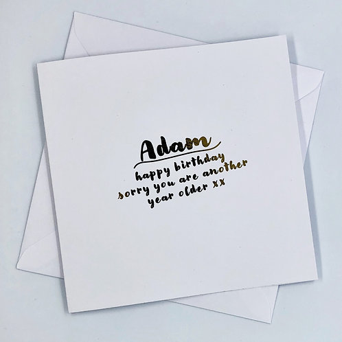 "Personalised Birthday ""Another Year Older"" Gold Foil Card"