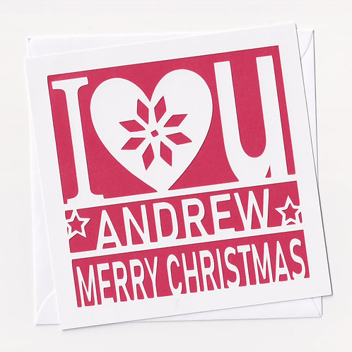 "Personalised Papercut ""I Love You"" Christmas Card"
