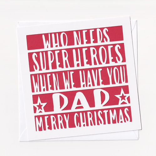 Personalised Papercut Super Heroes Christmas Card