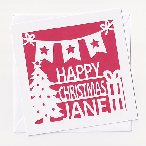 Personalised Papercut Present Christmas Card