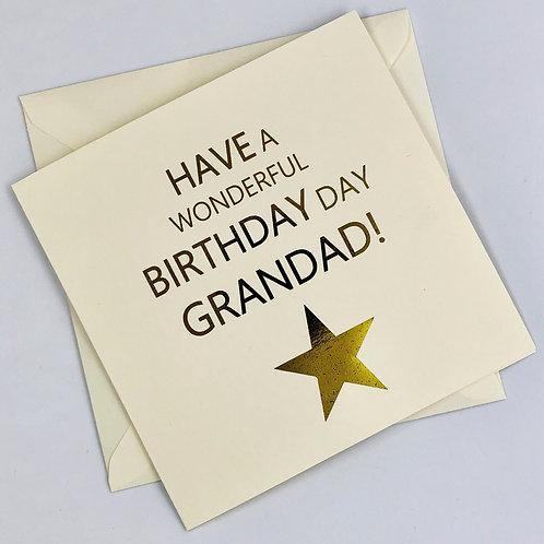 """Gold Foil Grandad Birthday Card """" Grandad Star """""""