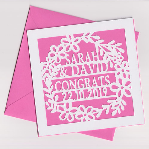Personalised Papercut Wedding Wreath Card
