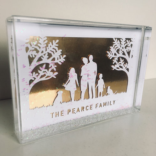 Personalised Family Silhouette Papercut Snow Block