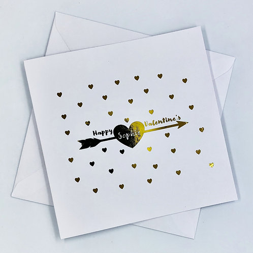 """Personalised """"Arrow Heart Valentine's Day"""" Gold Foil Card"""