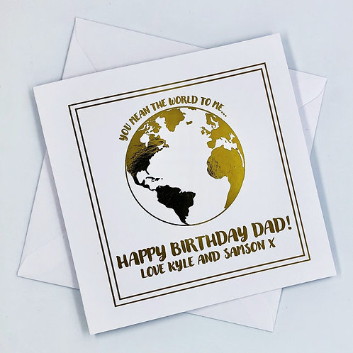 Personalised Dad Birthday World Gold Foil Card