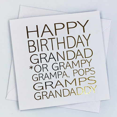 "Gold Foil Grandad Birthday Card ""Grandad, Gramps, Pops"""