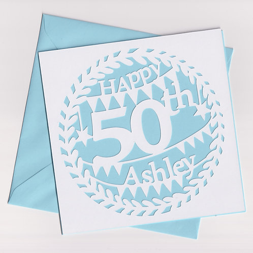 Personalised Papercut Age Birthday Card