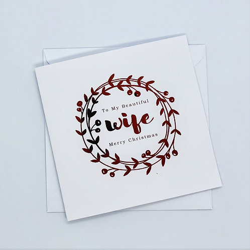 Red Foil Christmas Wife Wreath Card
