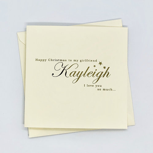Personalised Gold Foil Star Girlfriend Christmas Card