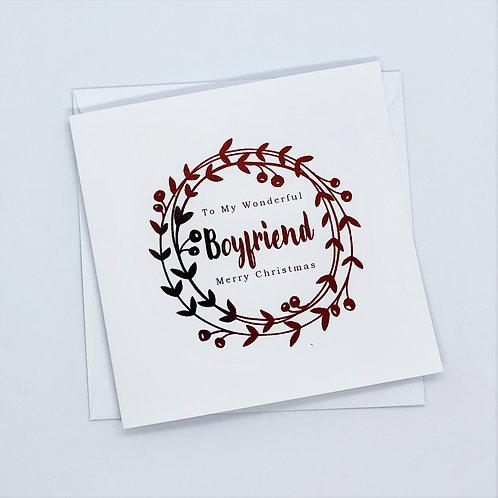 Red Foil Christmas Boyfriend Wreath Card