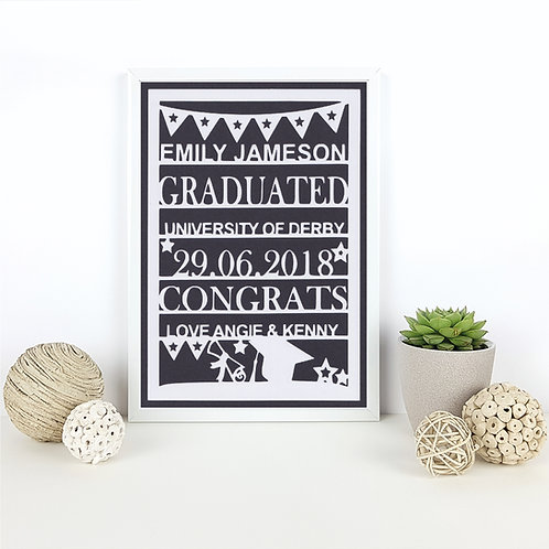 Personalised Graduation Papercut