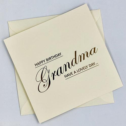 Gold Foil Grandma Birthday Card