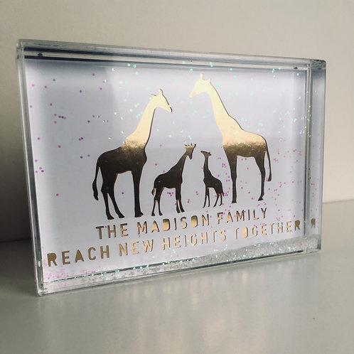 Personalised Giraffe Papercut Snow Block