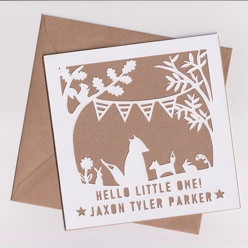 Personalised Papercut Baby Fox Card