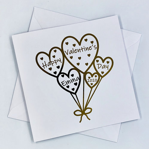 """Personalised """"Heart Balloon Valentine's Day"""" Gold Foil Card"""