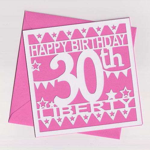Personalised Papercut Happy Birthday Card