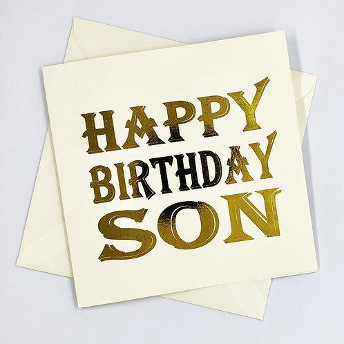 Happy Birthday Son Text Gold Foil Card