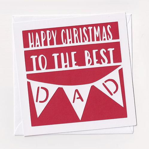 Papercut Flag Dad Christmas Card