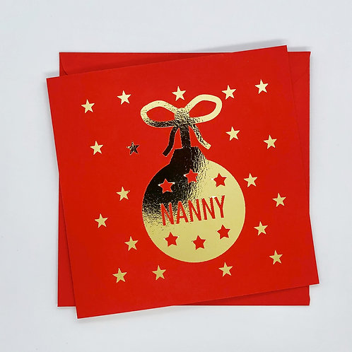 Gold Foil Nanny Christmas Bauble Card