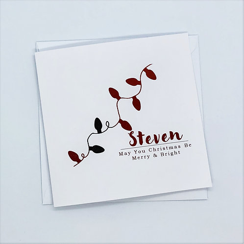 Personalised Red Foil Christmas bells Card