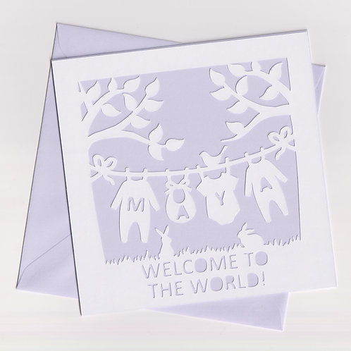 Personalised Papercut Baby Washing Line Card