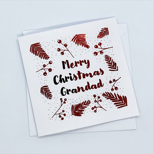 Red Foil Grandad Christmas Berry Card
