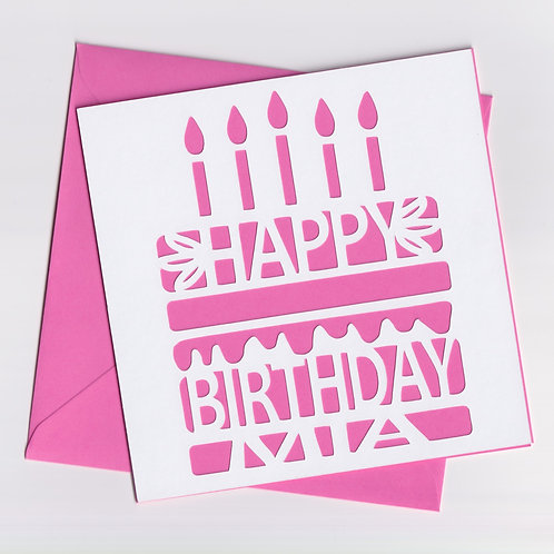 Personalised Papercut Birthday Cake Card