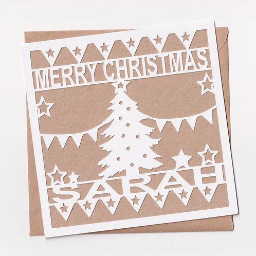 Personalised Papercut Christmas Tree Card