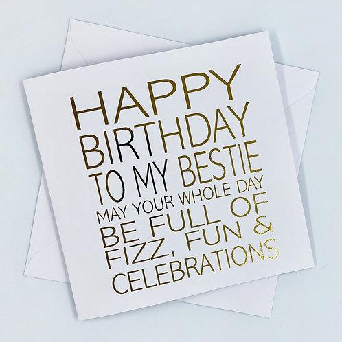 Best Friend Birthday Gold Foil Card