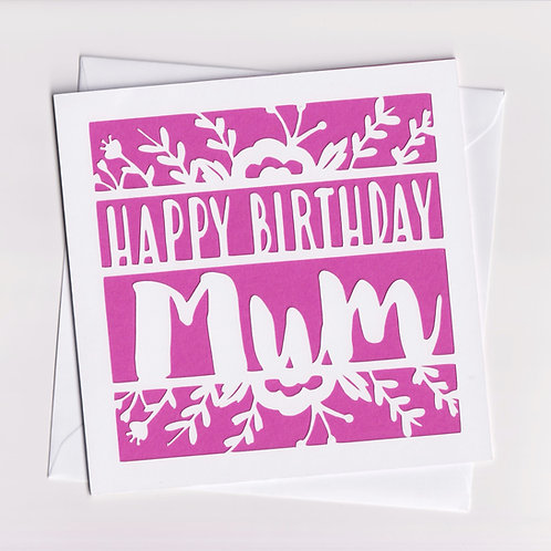 Papercut Flower Mum Birthday Card