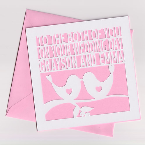 Personalised Papercut Wedding Bird Card