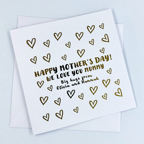 "Personalised ""Heart Mother's Day"" Gold Foil Card"