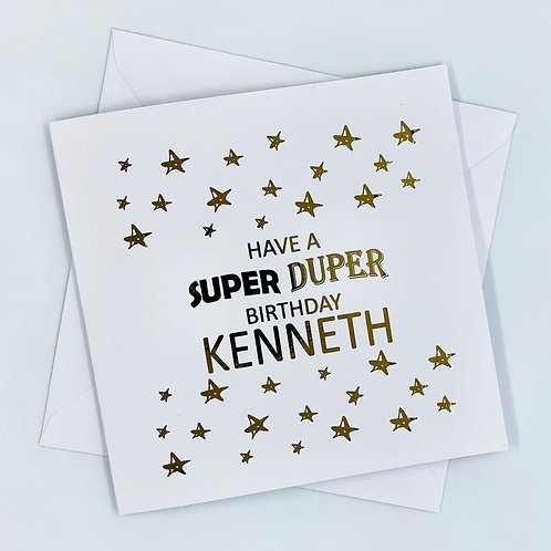 "Personalised ""Super Duper Birthday"" Gold Foil Card"