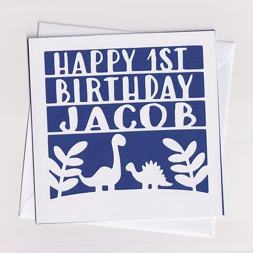 Personalised Papercut Dinosaur Birthday Card