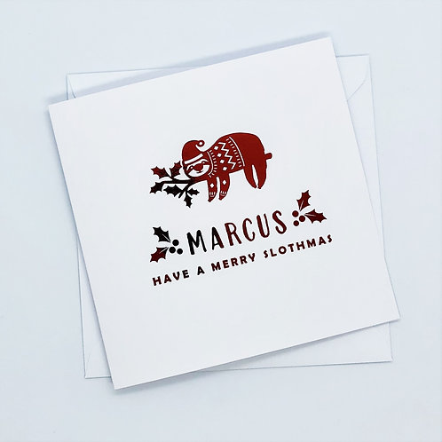 Personalised Red Foil Christmas Sloth Card