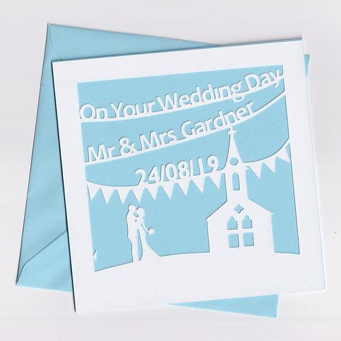 Personalised Papercut Wedding ChurchCard