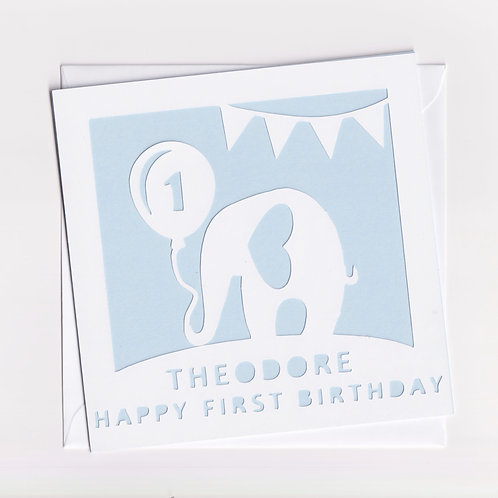 Personalised Papercut Elephant Birthday Card