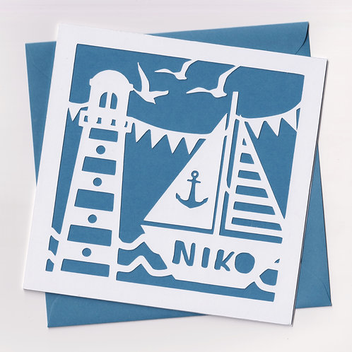 Personalised Papercut Boat Card