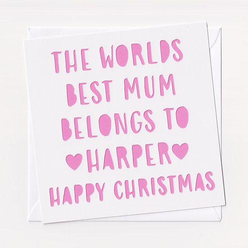 "Personalised Papercut ""Worlds Best Mum"" Christmas Card"
