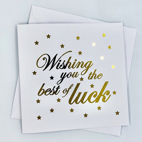 "Gold Foil Good Luck Card ""Best Of Luck Wishes"""