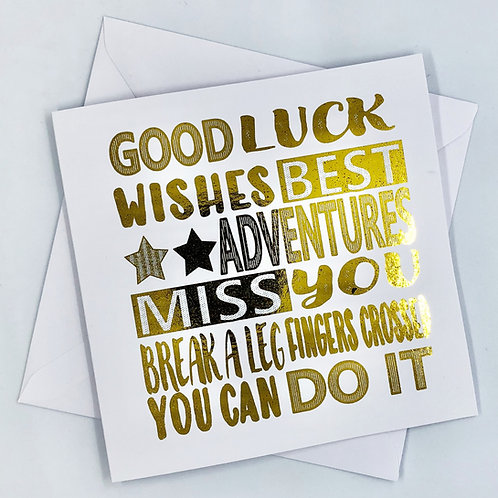 "Gold Foil Good Luck Card ""Best Wishes"""
