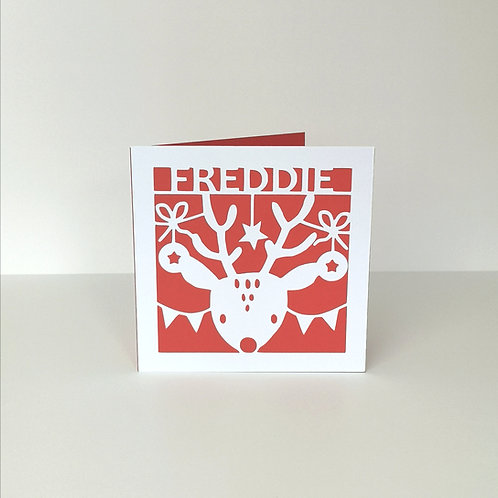 Personalised Papercut Christmas Deer card