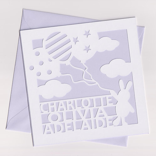 Personalised Papercut Baby Bunny Balloon Card