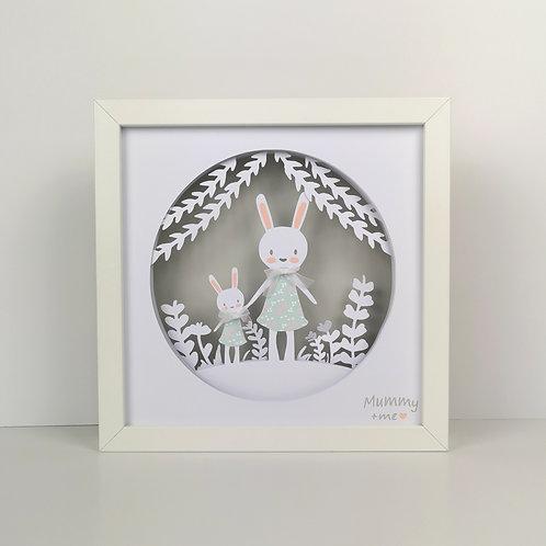 Framed Mummy+Me Bunny Papercut Mood Light