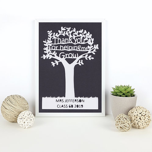 Personalised Thank You Teacher Papercut